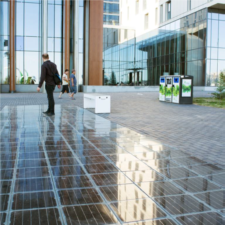Solar panels pavement