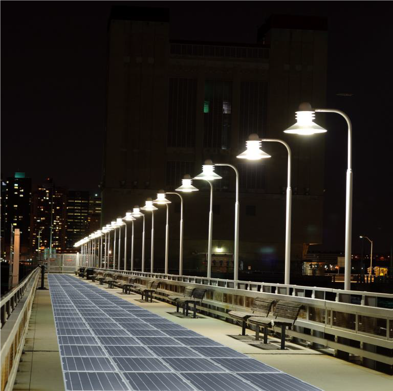 Solar pavement at night